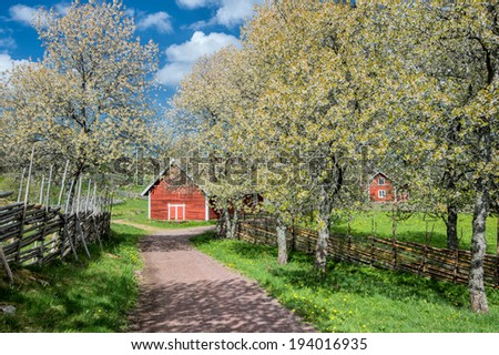 Sweden at springtime - a sunny day in the idyllic countryside of Smaland in early May - stock photo