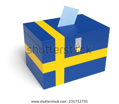Sweden ballot box with Swedish Flag. Isolated on white background. - stock photo