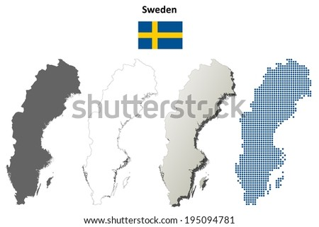Blank Detailed Contour Maps Sweden Vector Stock Vector - Sweden map jpg