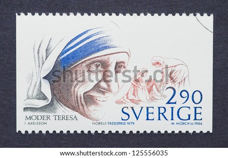SWEDEN -Â?Â? CIRCA 1986: A postage stamp printed in Sweden showing an image of Nobel Peace Prize winner Mother Teresa, circa 1986. - stock photo