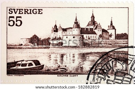 SWEDEN - CIRCA 1972: a stamp printed by SWEDEN shows view of Kalmar Castle from the North side. Kalmar is a city in Smaland in the South-East of Sweden, circa 1972. - stock photo