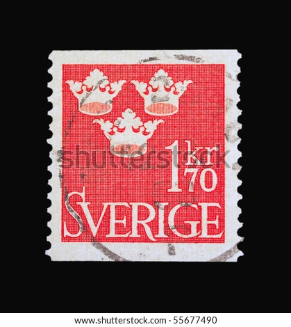 SWEDEN - CIRCA 1970: A stamp printed in Sweden showing one krone series, circa 1970