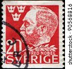 SWEDEN - CIRCA 1946: A stamp printed in Sweden shows Alfred Nobel - Swedish chemist, engineer, innovator, and armaments manufacturer, he is the inventor of dynamite, circa 1946 - stock photo