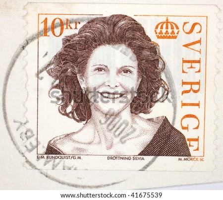 SWEDEN - CIRCA 2006: A stamp printed in Sweden shows image of Queen Silvia, series, circa 2006
