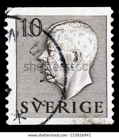 "SWEDEN - CIRCA 1951: A stamp printed in Sweden, shows king Gustaf VI Adolf of Sweden, without the inscriptions, from the series ""King Gustaf VI Adolf"",circa 1951"
