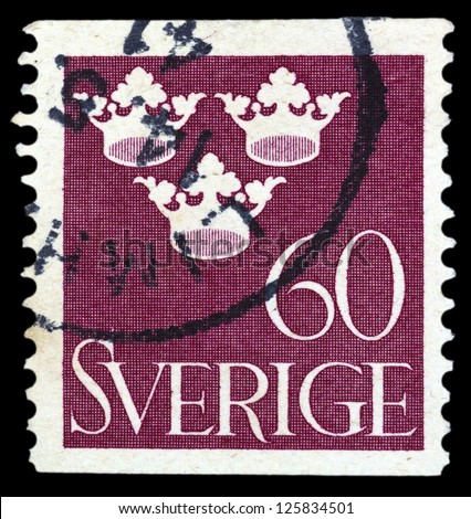 "SWEDEN - CIRCA 1939: A stamp printed in Sweden, shows the three crowns (symbol of Sweden), without the inscriptions, from the series ""Three crowns"", circa 1939"