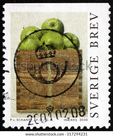 SWEDEN - CIRCA 2000: a stamp printed in the Sweden shows A Peck of Apples, Painting by Philip von Shantz, circa 2000 - stock photo