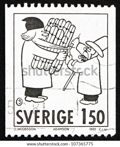 SWEDEN - CIRCA 1980: a stamp printed in the Sweden shows Comic Strip Characters by Adamson, Christmas, circa 1980