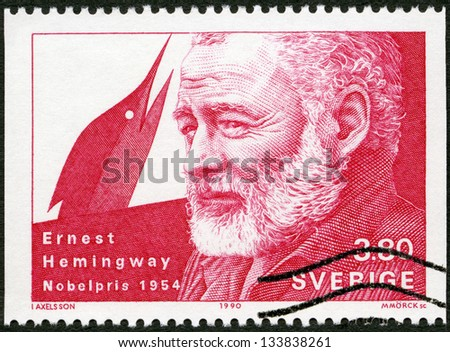 SWEDEN - CIRCA 1990: A stamp printed in the Sweden shows Ernest Hemingway, Nobel Laureate in Literature, 1954, circa 1990 - stock photo