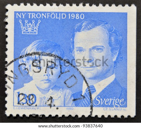 SWEDEN - CIRCA 1980: a stamp printed in the Sweden shows King Carl XVI Gustaf and Crown Princess Victoria, circa 1980