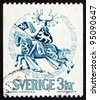 SWEDEN - CIRCA 1970: a stamp printed in the Sweden shows Seal of Duke Erik Magnusson, 1306, Duke on Horseback, circa 1970 - stock photo