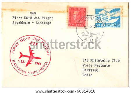 "SWEDEN - CIRCA 1961: An old used envelope (campaign poster) issued in honor of the First Flight Stockholm - Santiago with inscription ""First Regular Flight Stockholm - Santiago"", series, circa 1961"