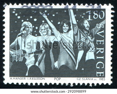 SWEDEN - CIRCA 1983: stamp printed by Sweden, shows ABBA Swedish pop group, circa 1983 - stock photo