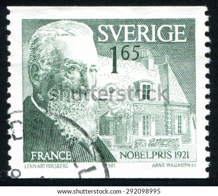 SWEDEN - CIRCA 1981: stamp printed by Sweden, shows Anatole France, circa 1981