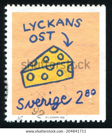 SWEDEN - CIRCA 1992: stamp printed by Sweden, shows Cheese, circa 1992 - stock photo