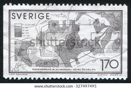 SWEDEN - CIRCA 1979: stamp printed by Sweden, shows Computer map of herring distribution in South Baltic Sea, circa 1979 - stock photo
