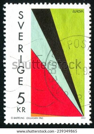 SWEDEN - CIRCA 1993: stamp printed by Sweden, shows Contemporary, circa 1993 - stock photo