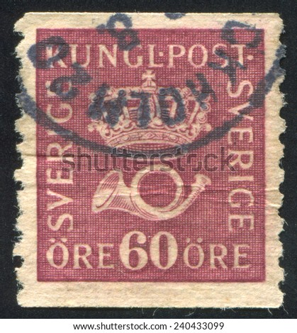 SWEDEN - CIRCA 1921: stamp printed by Sweden, shows Crown and post horn, circa 1921