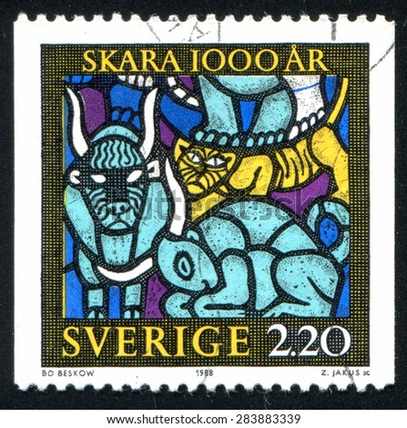 SWEDEN - CIRCA 1988: stamp printed by Sweden, shows Detail from Creation, a Skara Cathedral stained-glass window by Bo Beskow, circa 1988
