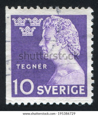 SWEDEN - CIRCA 1946: stamp printed by Sweden, shows Esaias Tegner, circa 1946
