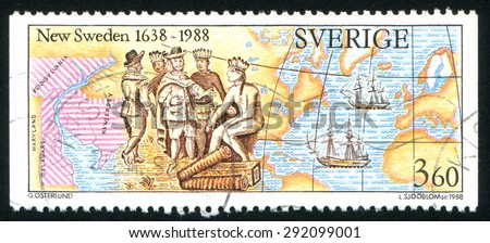 SWEDEN - CIRCA 1988: stamp printed by Sweden, shows European settlers negotiating with American Indians, map of New Sweden, the Swedish ships Kalmar Nyckel and Fogel Grip, circa 1988 - stock photo