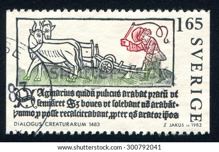 SWEDEN - CIRCA 1983: stamp printed by Sweden, shows farmer, circa 1983 - stock photo