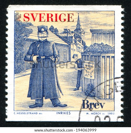 SWEDEN - CIRCA 2002: stamp printed by Sweden, shows Fictitious police chief and criminal, circa 2002