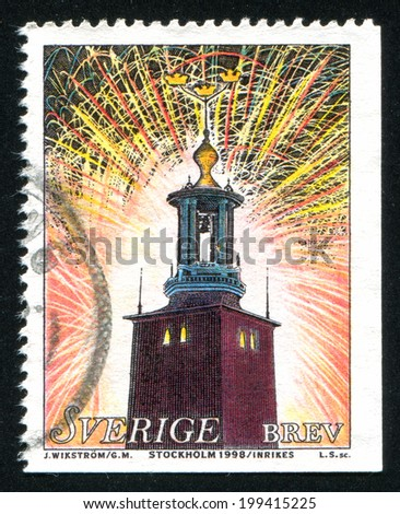 SWEDEN - CIRCA 1998: stamp printed by Sweden, shows Fireworks over City Hall in Stokholm, circa 1998