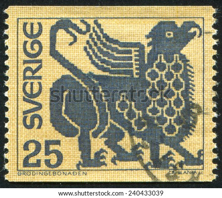 SWEDEN - CIRCA 1967: stamp printed by Sweden, shows Griffin, circa 1967 - stock photo