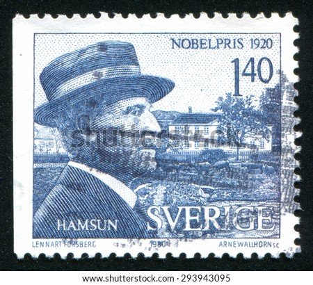 SWEDEN - CIRCA 1980: stamp printed by Sweden, shows Knut Hamsun, circa 1980 - stock photo