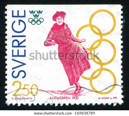 SWEDEN - CIRCA 1991: stamp printed by Sweden, shows Magda Julin, figure skating, Antwerp, circa 1991 - stock photo