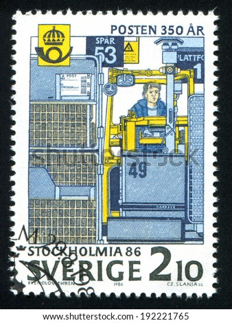SWEDEN - CIRCA 1986: stamp printed by Sweden, shows Mail handling terminal, Tomteboda, circa 1986