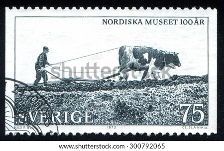 SWEDEN - CIRCA 1973: stamp printed by Sweden, shows Man with horse drawn sower, circa 1973