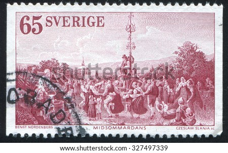 SWEDEN - CIRCA 1973: stamp printed by Sweden, shows Midsummer Dance by Bengt Nordenberg, circa 1973 - stock photo