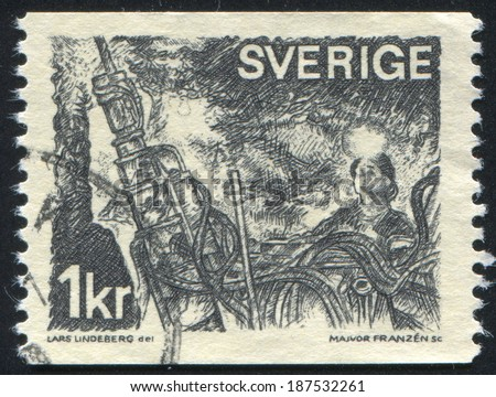 SWEDEN - CIRCA 1970: stamp printed by Sweden, shows Miner, circa 1970 - stock photo