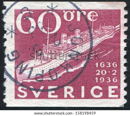 SWEDEN - CIRCA 1936: stamp printed by Sweden, shows Modern Swedish Liner, circa 1936 - stock photo