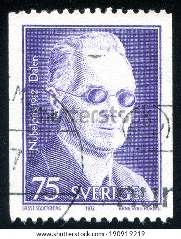 SWEDEN - CIRCA 1972: stamp printed by Sweden, shows Nils Gustaf Dalen, circa 1972 - stock photo