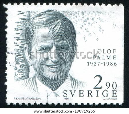 SWEDEN - CIRCA 1986: stamp printed by Sweden, shows Olof Palme, Prime Minister, circa 1986 - stock photo