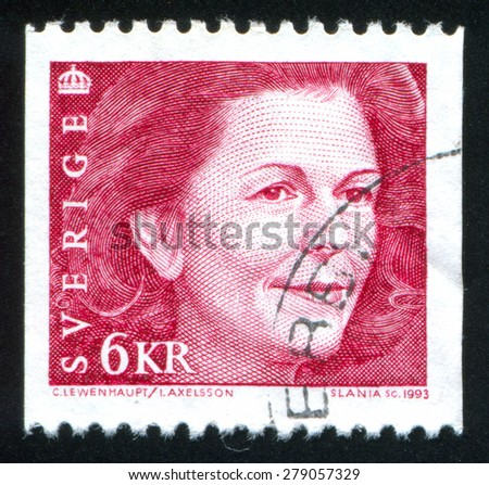 SWEDEN - CIRCA 1993: stamp printed by Sweden, shows Queen Silvia, circa 1993