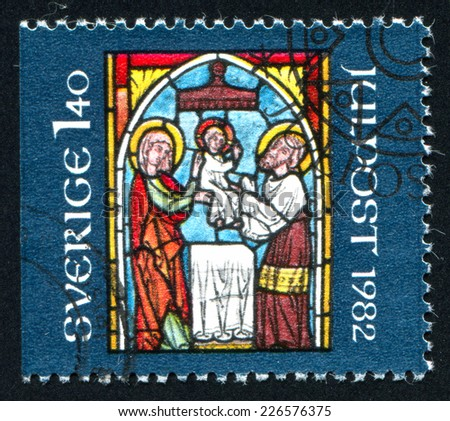 SWEDEN - CIRCA 1982: stamp printed by Sweden, shows Stained-glass Windows christmas, circa 1982