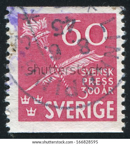 SWEDEN - CIRCA 1945: stamp printed by Sweden, shows Torch and Quill pen, circa 1945