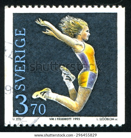 Sweden - CIRCA 1995: stamp printed by Sweden, shows Track and Field Championships, circa 1995 - stock photo