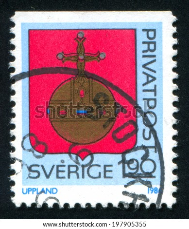 SWEDEN - CIRCA 1986: stamp printed by Sweden, shows Uppland Arms, circa 1986