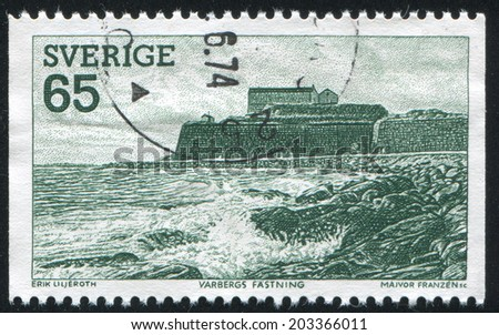 SWEDEN - CIRCA 1974: stamp printed by Sweden, shows Varberg Fortress, circa 1974 - stock photo