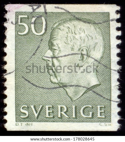 SWEDEN - CIRCA 1951 to 1968: a stamp printed in the Sweden shows King Gustaf VI Adolf,  printed and issued between 1951 and 1968