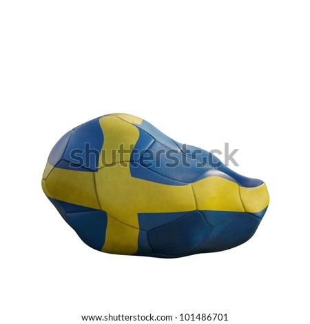 sweden deflated soccer ball isolated on white - stock photo