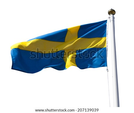 Sweden flag flying in the wind isolated on white with clipping path - stock photo