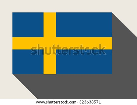 Sweden flag in flat web design style. - stock photo