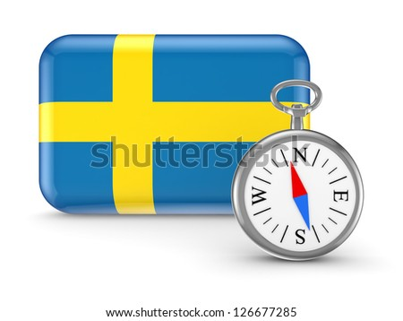 Sweden flag.Isolated on white.3d rendered. - stock photo