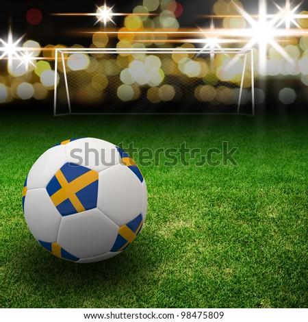 Sweden flag on 3d football for Euro 2012 Group D - stock photo